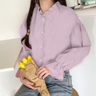 ボリューム袖のブラウス 2020 秋冬 トップス ガーリー 韓国 フリル 袖フリル デート お出かけ ゆったり レディース ゆったり 長袖