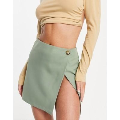 エイソス レディース スカート ボトムス ASOS DESIGN high slit wrap mini skirt in sage