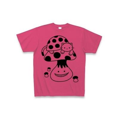 てんとう虫猫とキノコ Tシャツ(ホットピンク)