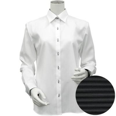 レディース ウィメンズシャツ 長袖 形態安定 レギュラー衿 綿100% 白×ストライプ織柄