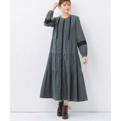 大きいサイズ 綿100%レース使いティアードワンピース ,スマイルランド, ワンピース, plus size dress