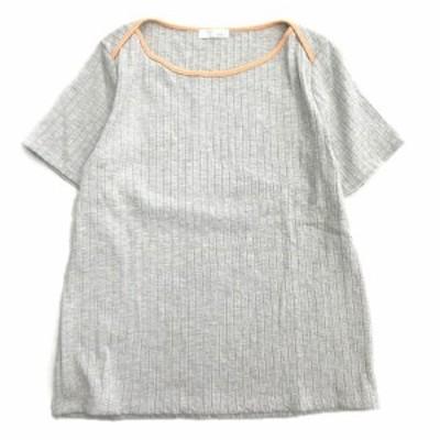 【中古】美品 インデックス INDEX リブ ニット Tシャツ カットソー パイピング 半袖 C58-14730 M 灰 グレー▼3
