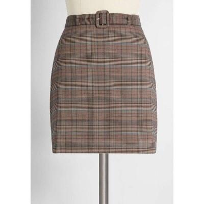 モドクロス ModCloth レディース ミニスカート スカート so plaid to meet you mini skirt brown