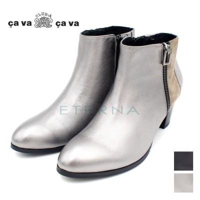 店頭展示品 サバサバ cava cava 靴 レディース ブーツ レザー スエード ショートブーツ 黒 ガンメタ k6220145