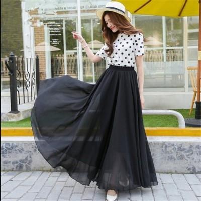 シフォンロングスカート 送料無料 チュールスカート シフォンロングマキシスカート ふんわり程よいボリュームで大人かわいい♪新作