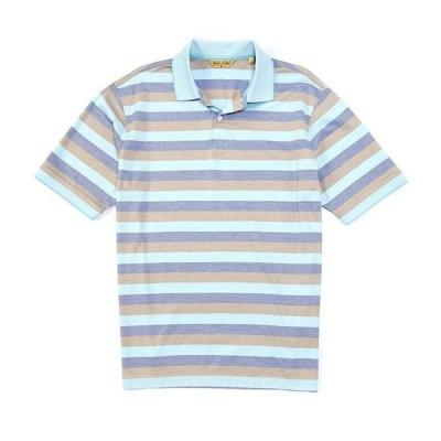 ラウンドトゥリーアンドヨーク メンズ シャツ トップス Gold Label Roundtree & Yorke Perfect Performance Short-Sleeve Striped Non-Iron Polo