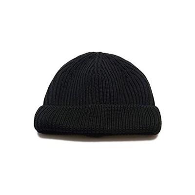 (ディグズハット)DIGZHAT ショートワッチ 折り返し ニット帽 浅い ビーニー ニットキャップ フィッシャーマン シンプル (ブラック)