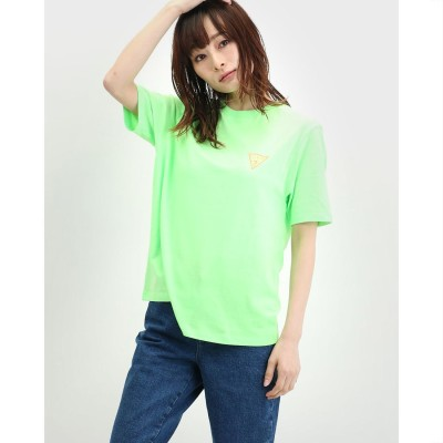 ゲス GUESS Colorful Triangle Logo Tee (NEON GREEN)