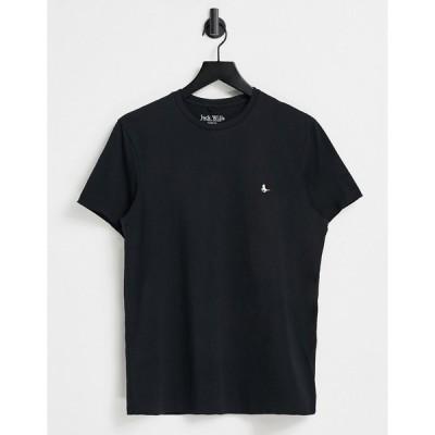 ジャックウィルス 半袖Tシャツ メンズ Jack Wills Sandleford t-shirt in black エイソス ASOS ブラック 黒