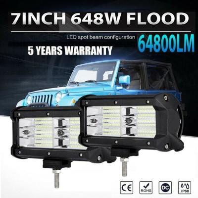 """オフロードATV霧トラックバンのための2倍7"""" インチ648W洪水LEDワークライトバーフィット 2x 7"""" Inch 648W Flood LED Work Light Bar Fit for Offroad ATV Fog T"""