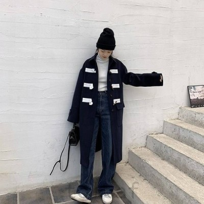 ダッフルコートロングコートアウターコートジャケットレディース秋冬10代20代30代40代ミドル丈ホーンバックル無地ネイビー