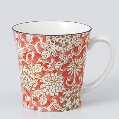 和食器 軽量反型 マグカップ 色唐草赤 カフェ コーヒー 紅茶 珈琲 お茶 オフィス おうち 食器 陶器 おしゃれ うつわ