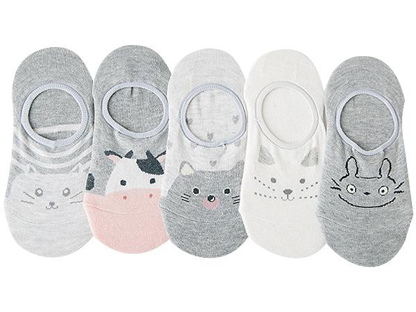 可愛動物防滑隱形襪(1雙入) 款式隨機出貨【D080077】