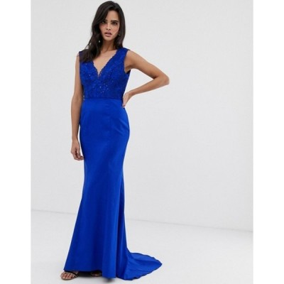 チチロンドン レディース ワンピース トップス Chi Chi London plunge front lace maxi dress with fishtail in royal blue