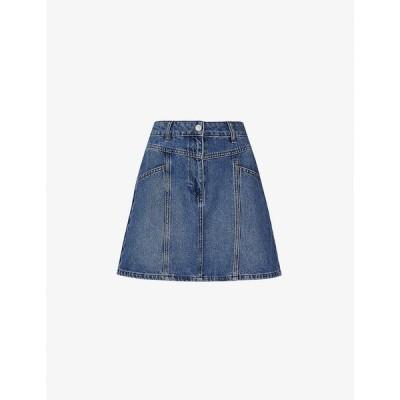 ホイッスルズ WHISTLES レディース ミニスカート デニム スカート Seam-detail high-rise denim mini skirt BLUE