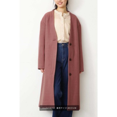 《Sシリーズ対応商品》◆ジャージメルトンVカラーコート  ピンク