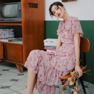 ワンピース シフォン ワンピース半袖 花柄 韓国風 ルロング丈 ワンピース ロング 大人 オシャレ 春夏 ケーキスカート 大きいサイズ 可愛