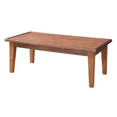 送料無料 ヘリンボーン模様 コーヒーテーブル センターテーブル W110xD55xH41cm ローテーブル 天然木 アカシア ブラウン GT-872