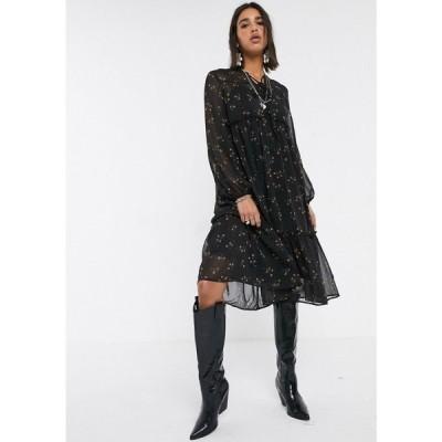 オブジェクト Object レディース ワンピース ミドル丈 ワンピース・ドレス midi smock dress in black ditsy floral ブラック