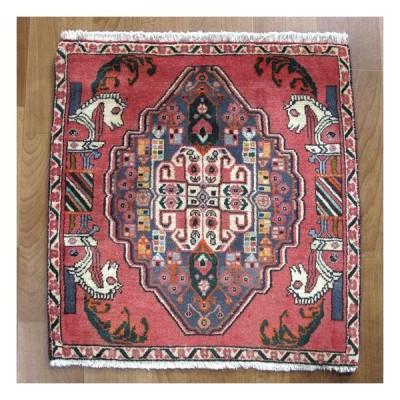 ギャッベ イラン産ギャベ(カシュガイ) 座布団サイズ 68×66cm 天然ウール100% 草木染め 手織り ラグ (品番:ZP-957)