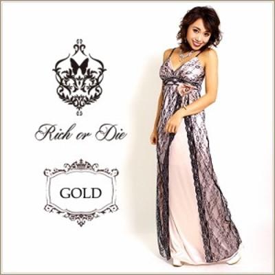 高級素材 銀糸装飾ブラックレース重ねゴージャス&薔薇コサージュ付き光沢サテンロングドレス  {キャバドレス  ナイトドレス} 送料無