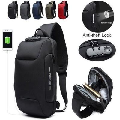 ボディバッグメンズショルダーバッグUSBポート携帯充電2Way斜め掛けバッグOZUKO防水ブラック大容量軽量ナイロン製鞄