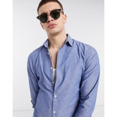 セレクテッドオム メンズ シャツ トップス Selected Homme organic cotton slim fit linen shirt in blue