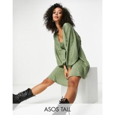 エイソス レディース ワンピース トップス ASOS DESIGN Tall mini v-neck swing dress in sage floral Sage