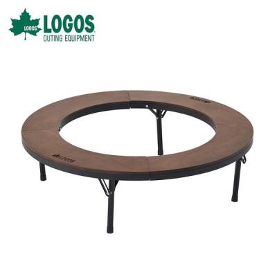 LOGOS ロゴス アウトドア テーブル アイアンウッド囲炉裏サークルテーブルL 81064106 机 木製天板 囲炉裏 たき火 グリル 円形テーブル 8人対応 収納バッグ付き