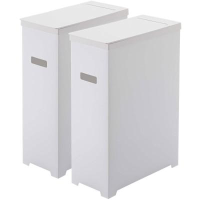 ゴミ箱 山崎実業 TOWER スリム蓋付きゴミ箱 45L 2個組 薄型 45リットル ダストボックス ごみ箱 YAMAZAKI ホワイト&ホワイト