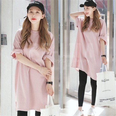 Tシャツ ワンピース チュニック 新作 春 夏 無地 ルーズ レディース 大きいサイズ ロング半袖Tシャツ トップス ゆったりデザイン 豊富なサイズ ピンク