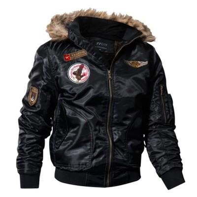 フライトジャケット メンズ ミリタリージャケット モッズコート 裏起毛 裏ボア付き ブルゾン アウター 防風 秋冬 アウトドア フェイクファー襟