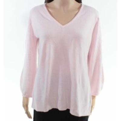 Scott  ファッション トップス Karen Scott Womens Sweater Light Pink Size Medium M Pullover V-Neck