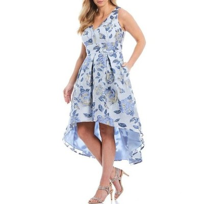 エリザジェイ レディース ワンピース トップス Plus Size Sleeveless Organza Burnout Floral Print Hi-Low Hem Dress