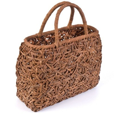 山葡萄かごバッグ  高級  乱れ編 沢皮 巾着付き  wild grapevine bag 91679