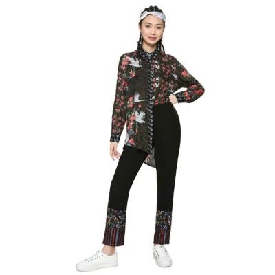 デシグアル Desigual 和柄プリント タキシードシルエットシャツ (ブラック)