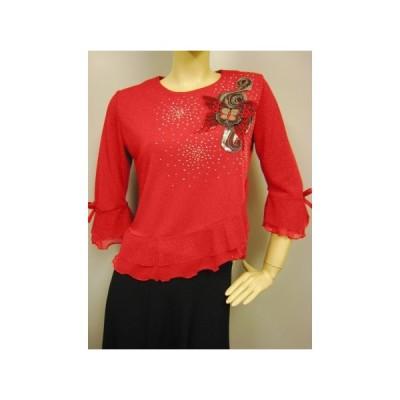 コーラス衣装 ブラウス 演奏会 ステージ パーティー カラオケ衣装 レディース ダンスウェア 衣装 Mサイズから Lサイズ 赤