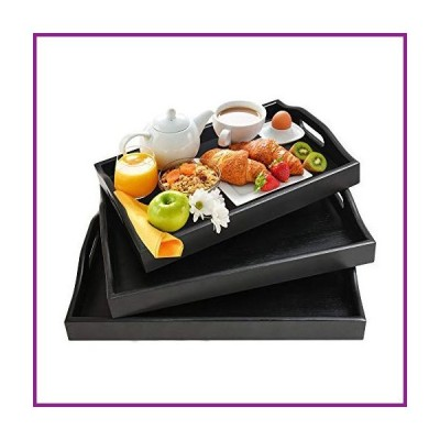 Serving Tray with Handles - Wood Bamboo Trays for Food Breakfast Party,Tea Coffee Table Ottoman Decor Set of 3 (Black)【並行輸入品】