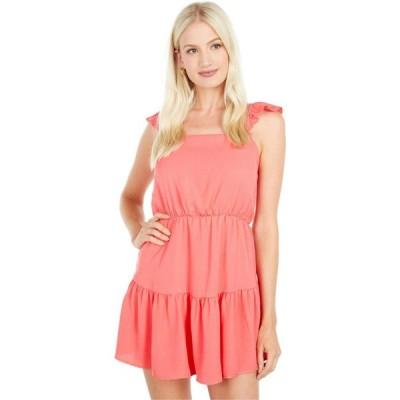 アメリカンローズ American Rose レディース ワンピース ワンピース・ドレス Serena Ruffle Dress with Shoulder Ties Coral