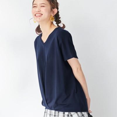 ヴィオラ エ ヴィオラ Viola e Viola 綿100%ゆったり裾タックTシャツ (ネイビー)
