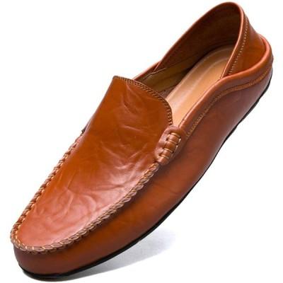 [MCICI] ローファー スリップオン ドライビングシューズ メンズ 本革 デッキシューズ 軽量 モカシン 靴 カジュアルシューズ 2種履き方 手作
