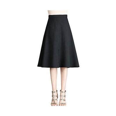 [フェイミー] フレア スカート シンプル 膝丈 春 夏 オフィスカジュアル レディース 4カラー M  XL (ブラック 03. XL)