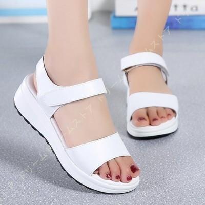 サンダル 厚底 美脚 大きいサイズ プラットフォーム 25.0cm 面ファスナー コンフォート レディース靴 ウェッジ 定番 4.5cmヒール ウエッジソール おしゃれ 女性