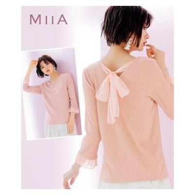 Tシャツ カットソー 大きいサイズ レディース バックリボン チュール使い リブ 七分袖 プルオーバー MIIA L〜10L ニッセン nissen