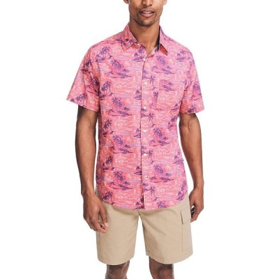 ナウティカ シャツ トップス メンズ Men's Classic-Fit Island-Print Shirt Rasberry Wine