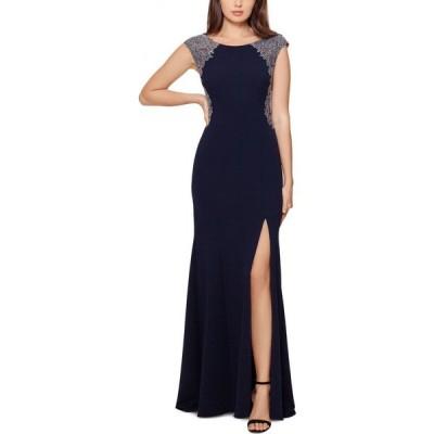 エックススケープ XSCAPE レディース パーティードレス ワンピース・ドレス Embellished Lace-Trim Gown Navy Blue/Silver