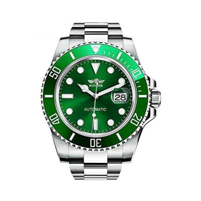 回転可能なベゼル 自動機械式腕時計 メンズ ブランド 防水 フルスチール シルバー 夜光 文字盤 腕時計 グリーン