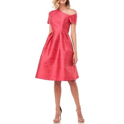 ケイアンガー レディース ワンピース トップス Bianca Asymmetrical Neck Short Sleeve Pleated Jacquard Dress Rose
