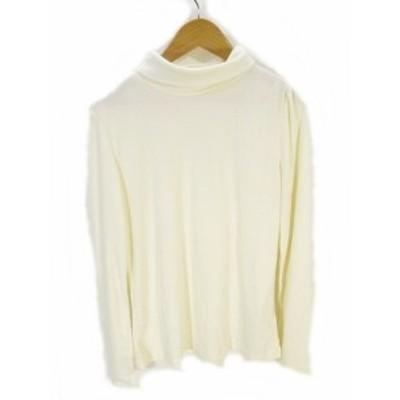 【中古】マリクレール MARIE CLAIRE Tシャツ カットソー 長袖 タートルネック 無地 白 ホワイト L レディース