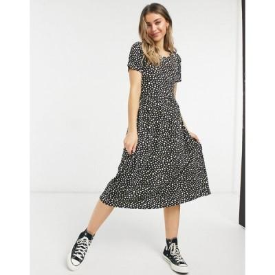 ウェンズデーガール ミディドレス レディース Wednesday's Girl midi smock dress in smudge spot print エイソス ASOS ブラック 黒